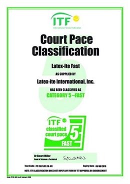 ITF Pace Classification Certificate FAST Category 5 0210101.0210102 resize