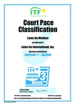 ITF Pace Classification Certificate MEDIUM Category 3 0210107 resize